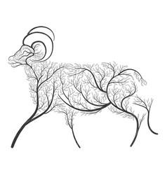 farm animals stylized bushes domestic ram vector image vector image