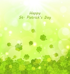 Glowing Background with Clovers for St Patrick vector image