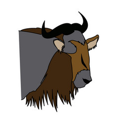 Head wildebeest african wildlife animal vector