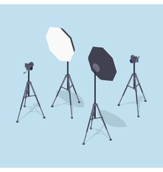 Isometric photo cameras tripods and softboxes vector