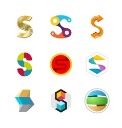 Letter s logo set color icon templates design vector