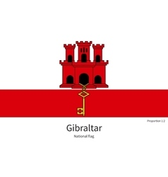 National flag of gibraltar with correct vector