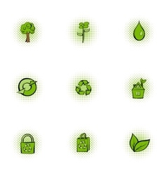 Natural environment icons set pop-art style vector