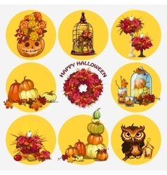 Nine isolated objects autumn and festive mood vector