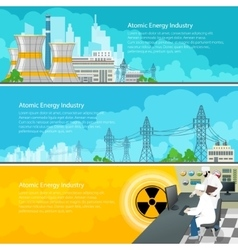 Nuclear power plant horizontal banners with text vector