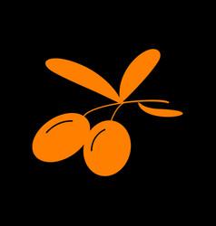 olives sign orange icon on black vector image vector image