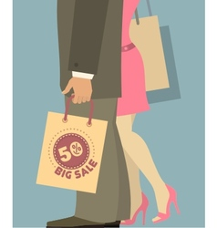 people with shopping bags vector image vector image