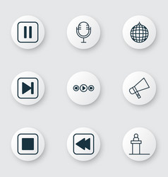 set of 9 multimedia icons includes mike dance vector image vector image