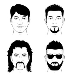set of man faces vector image vector image