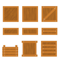 set of wooden box icon vector image