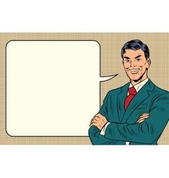 Successful retro businessman comic bubble vector