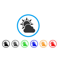 sun and cloud weather rounded icon vector image