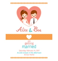 Wedding invitation card template bride and groom vector