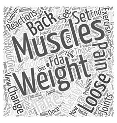 Weight loss and back pain word cloud concept vector