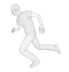 wire frame running man vector image vector image