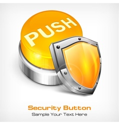 Yellow button with shield vector image vector image