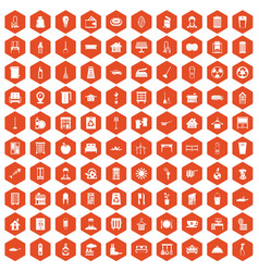 100 cleaning icons hexagon orange vector