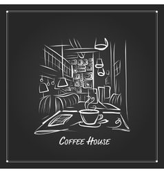 Morning coffee in cafe sketch for your design vector