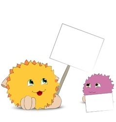two cartoon monster posters white background vector image