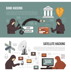 Hackers activity methods 2 flat banners vector