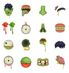 Zombie parts icons set cartoon style vector