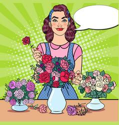 Woman florist making bunch of flowers pop art vector