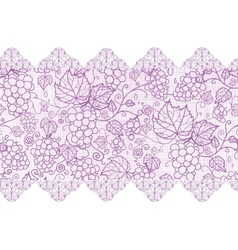 Purple lace grape vines horizontal seamless vector image