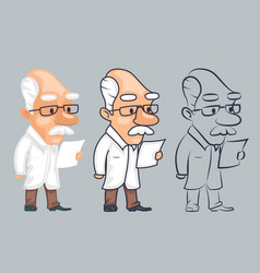 Lineart scientist reading paper study character vector