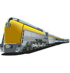 Yellow old-fashioned train vector