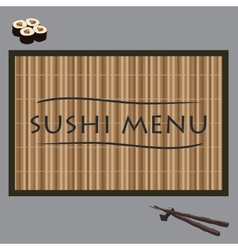 Sushi on bamboo vector