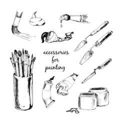 Accessories for painting vector