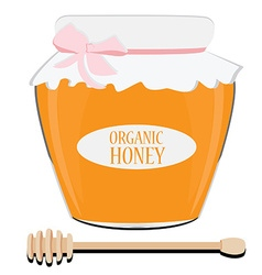 Honey spoon and pot vector