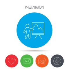 Presentation icon statistics chart sign vector