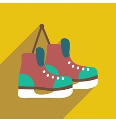 Flat icon with long shadow pair of skates vector