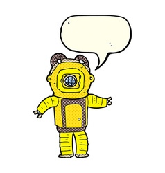 Cartoon deep sea diver with speech bubble vector
