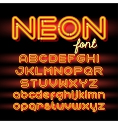 Round neon font vector
