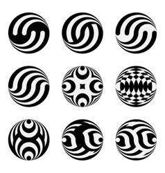 Set of monochrome black and white design elements vector image