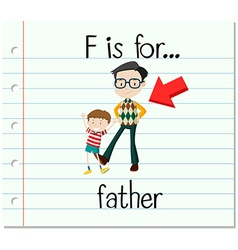 Flashcard letter f is for father vector