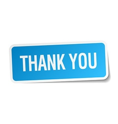 Thank you blue square sticker isolated on white vector