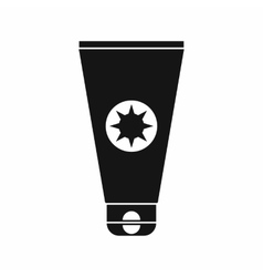Tube with sunbathing cream icon simple style vector