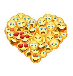 A set of emoticons shaped as heart vector