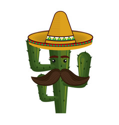 Animated cartoon cactus with mexican hat and vector