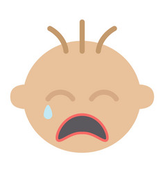 Baby boy cry flat icon child and infant vector