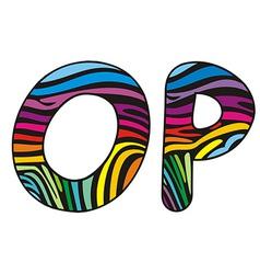 Background skin zebra shaped letter OP vector image vector image