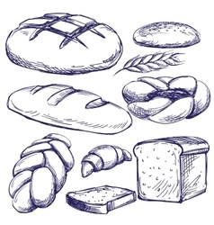 bakery set hand drawn llustration sketch vector image vector image