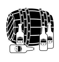 Black wooden barrel with bottles of beer vector