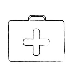 Blurred silhouette with first aid kit with cross vector