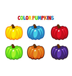 cartoon color pumpkins vector image vector image
