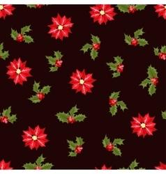 Christmas berry flower seamless pattern vector