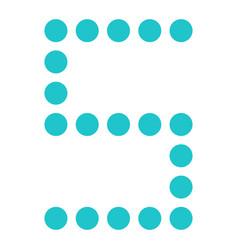 Digital number five 5 display board round dot vector
